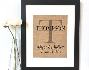 Personalized Family Name Burlap Print
