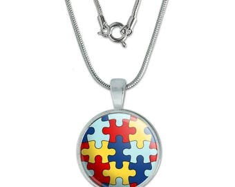 """Autism Awareness Diversity Puzzle Pieces 0.75"""" Pendant with Sterling Silver Plated Chain"""