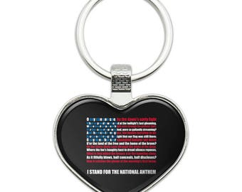 I stand usa national anthem star-spangled banner american flag patriotic heart love metal keychain key chain ring