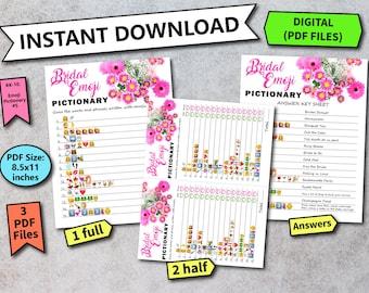 Bridal Shower Wedding Emoji Pictionary Game, Bridal Shower Game, Bridal Shower Emoji Pictionary Game, Emoji Pictionary, Bridal Shower BSF5