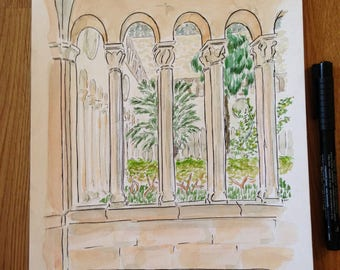 Tropical cloister (watercolor and ink drawing)
