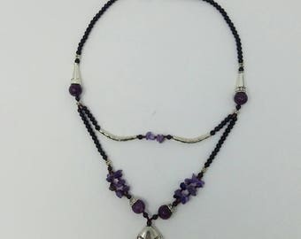 Free shipping Purple amethyst necklace Afghan jewelry,  tribal necklace black stone