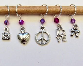 Peace and love themed stitch markers set of five