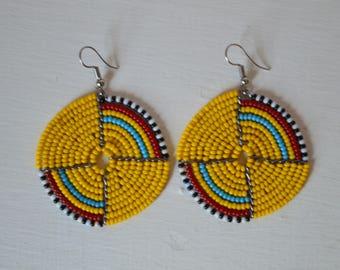 African Maasai Beaded Dangle Earrings | Beaded earrings | Multi color Earrings | Round Earrings | Elegant Earrings | Gift for Her