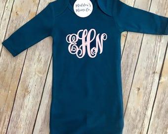 Personalized Baby Gown with Hidden Zipper