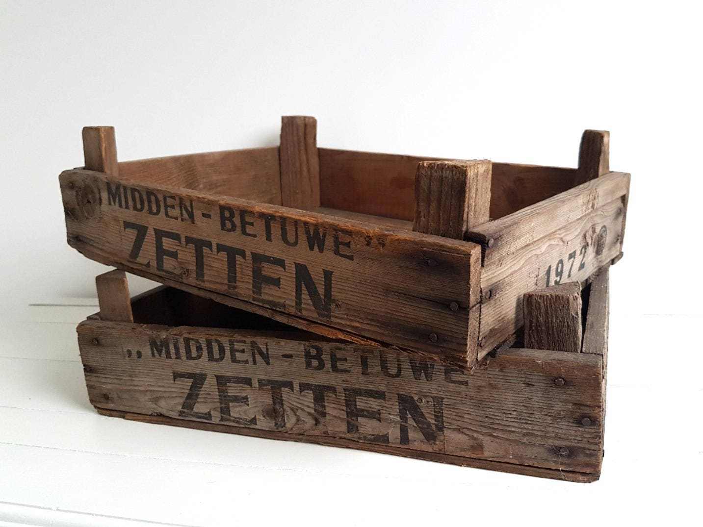Dutch old wooden auction crate rustic wood crate wood for Uses for old wooden crates