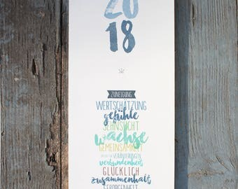 "Wall Calendar 2018-Pärchenplaner ""Pepe"""