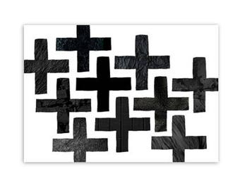 Card, Cross, pluses, black/white, monochrome, illustration, decoration, post, stationary, A6