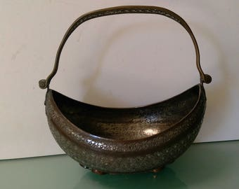 Antique Islamic Kashkul Beggars Bowl Persian Qajar Tinted Copper