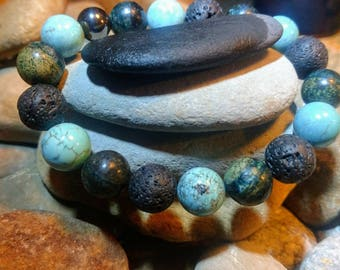 Seraphinite and Howlite lava stone Bracelet
