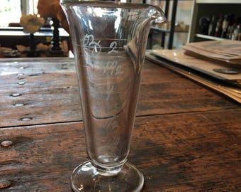 2 oz glass antique apothecary graduated Cone