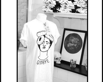 hand screen printed t shirt 100% cotton Frida kahlo donuts GRL PWR