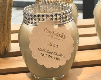 Glam Silver Curved Jar Soy Candle-12oz