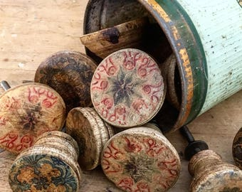 Set of 11 Vintage Cupboard Knobs. Deliciously faded in 2 sizes