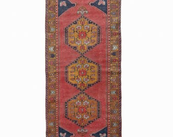 Oushak Runner Rug Vintage Turkish Handknotted  Turkish Runner Rug FREE SHIPPING! / 3'3''x9'3''ft