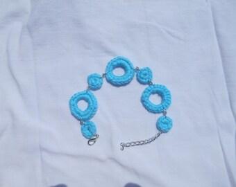 cotton turquoise blue bracelet