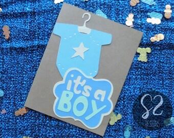 Handmade Natural Looking Baby Boy Onesie Card