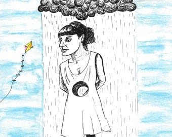 Rainy Day Girl - High Quality Art Print - Watercolour & Ink Drawing
