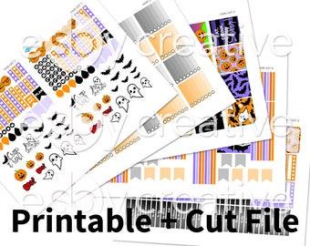 Hand Drawn Halloween - Weekly Sticker Kit Printable for Erin Condren Horizontal - HWK-047 - INSTANT DOWNLOAD
