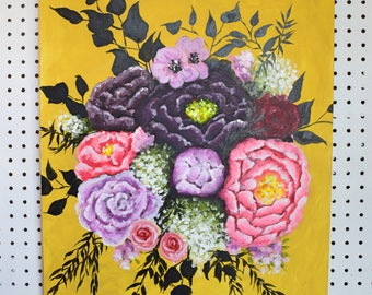 Neon Floral Bouquet with Peonies-Original on Canvas