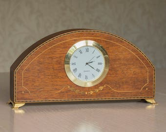 Upcycled vintage wooden mantel clock - miniature and unique.