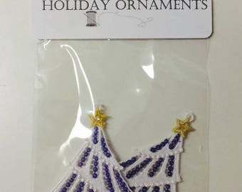 100% Thread Holiday Ornaments, Tree Ornaments, Sewn Tree Embellishments, Embroidered Ornaments, White Tree
