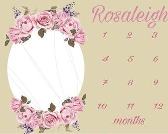 Baby Milestone Photo Prop: Shabby Chic Roses