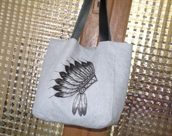 "Tote bag Tote any hand bag in linen and cotton ""Indian"" leather handles"