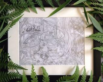 Original Jungle Book graphite pencil drawing showing Mowgli, Shere Khan , Kaa, Bagheera, King Louie and Baloo.