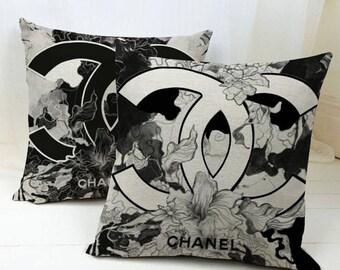 Black CC pillow cover