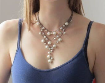 Pearl wedding bridal necklace