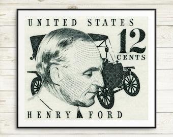 Travel gift, large black art, huge wall art, Model T, Ford trucks, Ford cars, Henry Ford, vintage Ford, postage stamps, stamp art