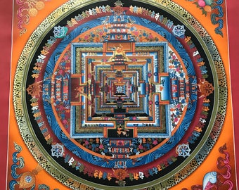 Wonderful High Quality Kalachakra Mandala Thanka Tibetan Handpainted in Nepal