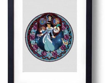 Jasmine Winter Fantasy Stained Glass - Aladdin Disney (Cross stitch embroidery pattern pdf)
