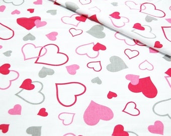 Cotton Fabric, Quilting Fabric, Hearts Fabric,Love Heart Fabric,Gray Pink hearts on white background, Fabric by the Yard-Half Yard