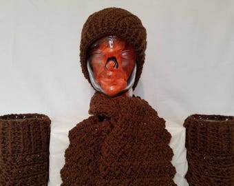 Modern earthy brown Hat, Scarf, and Reversible Boot Cuffs Set.