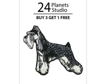 Schnauzer#102 Iron on Patch by 24PlanetsStudio Cute Applique Cute Patch dog patch dogs