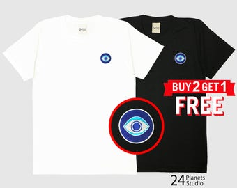 Evil eye Embroidered T-Shirt by 24PlanetsStudio