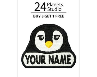 "Penguin ""Your Name"" Iron on Patch by 24PlanetsStudio Your Text Custom Made DIY"
