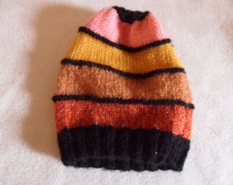 striped, black, knitted Beanie handmade