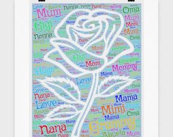 "I Love You Mom POSTER! 16"" x 16"" Poster I Love You  NANA GIGI Grandma Wall Art Mom Birthday Mother's Day, Decor Christmas Decoration"