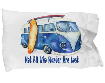 Surf's Up Love Bus Surfboards Beach Paradise Pillowcase Bedding Birthday Father's Day Mother's Day Anniversary Gift