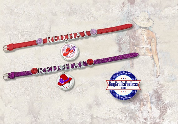 RED HAT, Red Hat Society Bracelets, Rhinestone Letters **FREE SHiPPiNG**