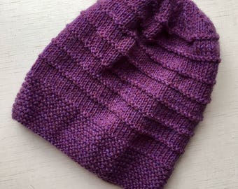 Knitting hat Lilac hat Wool hat Winter hat Beany Violet hat Шапка фиолетовая