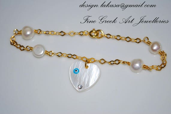 Bracelet Sterling Silver Gold-plated with 4 Pearls Fine Grek Art Handmade Jewelry Gift for friends Love Mother Mama Girl Birthday Friendship