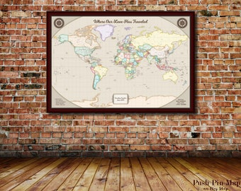 Travel Watercolor, Detailed World Push Pin Map, 24x36 or 30x40 Mounted Map, 100 Push Pins, Color Scheme Options