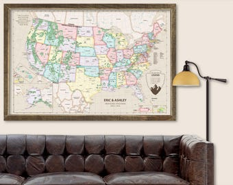 Usa map etsy us map with pins map of us poster map of the us travel map push pin gumiabroncs Image collections