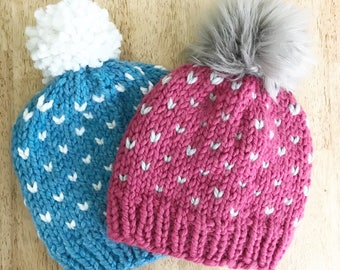 Knit Beanie, Adult Knit Hat, Little Hearts Hat, Girls Hat with Hearts, Unisex Hat, Knit Winter Hat, Hat with Pom, Fitted Knit Hat
