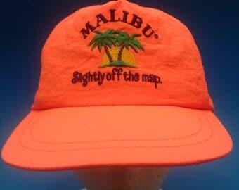 Vintage Malibu Trucker SnapBack hat neon Orange 1980s