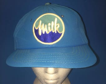 Vintage Milk Trucker Hat 1980s One  of the snap looks broken it still snaps
